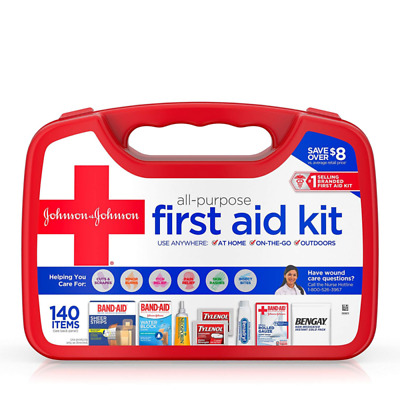 Band Aid All-Purpose Portable Emergency First Aid Kit for Home & Travel, 140 pc