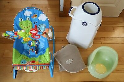 BABY LOT Fisher-Price baby adjustable rocking chair Diaper Champ Bundleme Chair