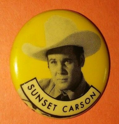 Sunset Carson Western Vintage 1950S Republic Pictures Pin Button Rare A