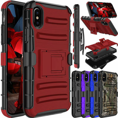 For iPhone XS Max/XS/XR Case Shockproof Clip Holster Stand Hybrid Defender Cover