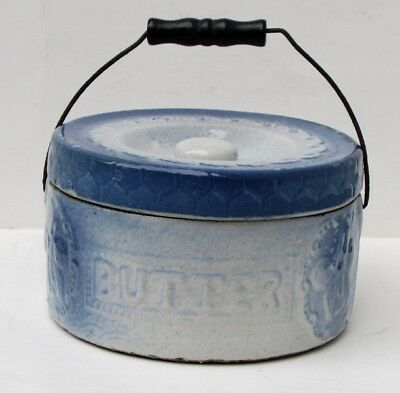 Antique Blue Glazed Yellow Ware Butter Crock With Handle