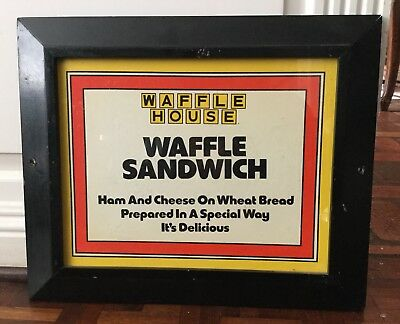 Original Waffle House Sign With Wood Frame