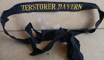 German Destroyer Bayern full length Cap Tally Genuine issued item 1960's