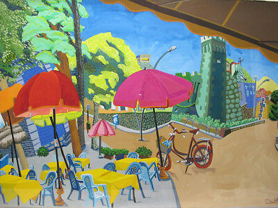 Orig Pa Ri Nh Artist Daniel Heyman Gouache Painting Outdoor Cafe W Bicycle