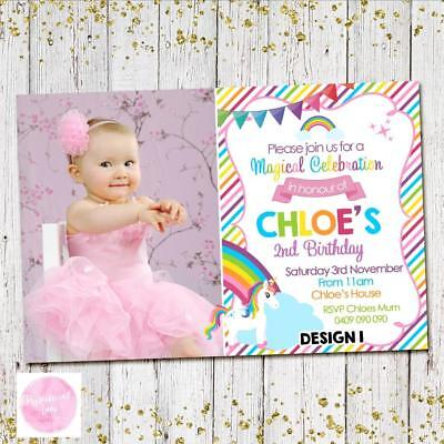 YOU PRINT UNICORN RAINBOW 1st Invites Invitations Party First Birthday Girls