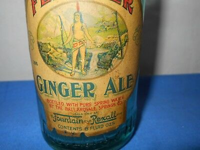Early Rexall Soda Fountain Red Feather Ginger Ale Bottle Native Indian Graphics