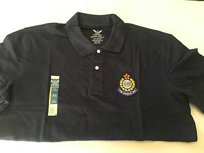 Men polo - Hong Kong Police Force polo w/color HKP badge, sz L,navy blue