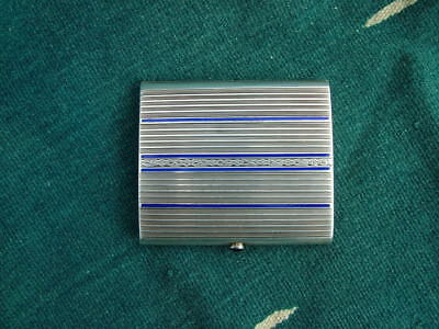 Vintage Art Deco Enameled Sterling Cigarette Case With Saphire Button Opener