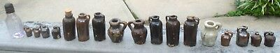 Antique Collection of 17 Miniature Glazed Stoneware Jugs & More-LOOK!