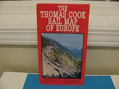 1991-92 THE THOMAS COOK RAIL MAP OF EUROPE ~Vintage Folding Map 34 in x 26 in ~