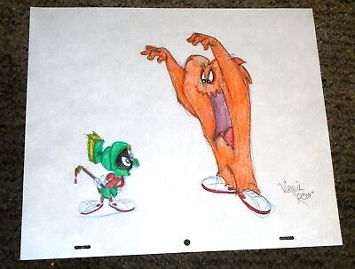 Warner Bros Virgil Ross Hand Drawn Signed Drawing Cel-Marvin Martian & Gossamer
