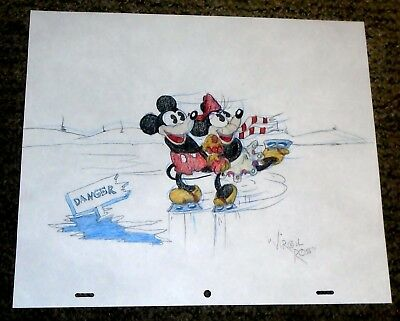Warner Bros Virgil Ross Hand Drawn Signed Drawing Cel-Mickey & Minnie Skating!