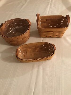 Longaberger Lot Of 3 Baskets: 1998 Tea and Lavender and 1991 Button & Protectors