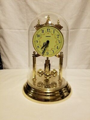 Chronos Anniversary Clock Glass Dome Brass-Colored Metal & Plastic WORKS WELL