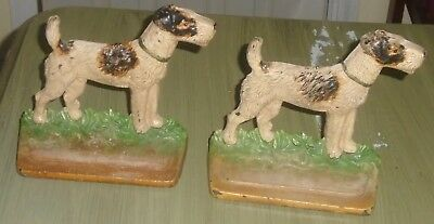 Antique Pair of Hubley Cast Iron Figural Fox Terrier Dog Book Ends-Marked #294