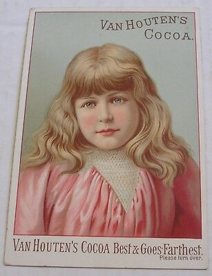 Larger Sized Victorian Trade Card, Van Houten's Cocoa, Weesp, Holland, Graphics