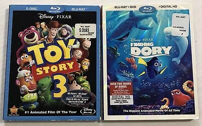 Disney Pixar Bluray Slipcovers (Finding Dory, Toy Story 3, Lot Of 2) Canadian