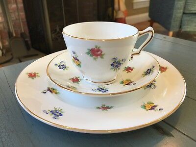 Crown Staffordshire Teacup and Plate Bone China England Flowers Floral