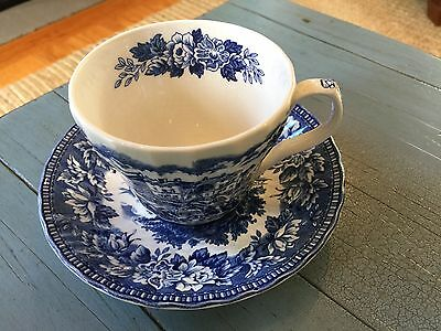 K. Aynsley and Co Tea Cup and Saucer Blue Transferware Ironstone England Hunt