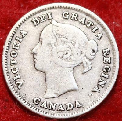 1891 Canada 5 Cents Silver Foreign Coin