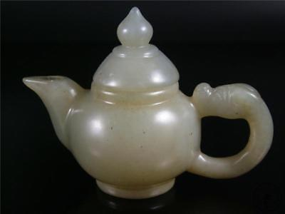 Old Chinese Celadon Nephrite Jade Teapot Statue W/ COVER HANDLE W/ DRAGON DESIGN