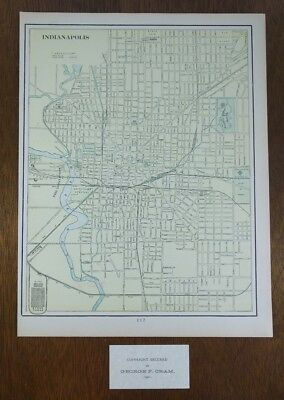 """Vintage 1901 INDIANAPOLIS INDIANA Map Old Antique 11""""x14"""" GREENFIELD CARMEL MAPZ"""