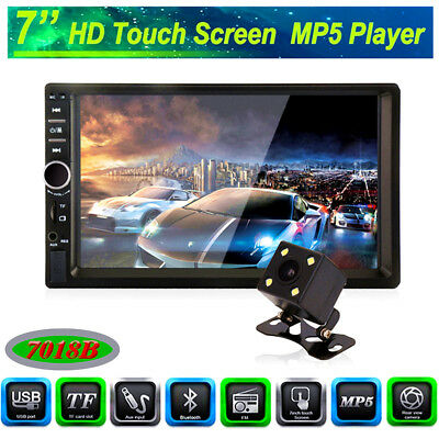 "7""Car Stereo Radio Double 2 DIN Bluetooth MP5 Player Touch Screen+Camera FM AUX"