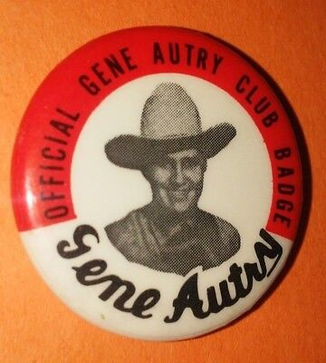 Gene Autry Western Club Badge Pin Button Vintage Rare Original 50's 60's B