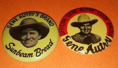 2Pc Gene Autry Western Club Badge Pin Button Lot Vintage Rare Original 50's 60's