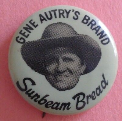 Gene Autry 1950's Western Sunbeam Bread Badge Pin Button Vintage Rare Original A