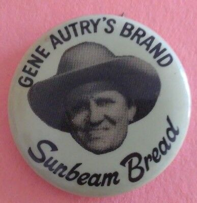 Gene Autry 1950's Western Sunbeam Bread Badge Pin Button Vintage Rare Original C