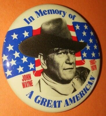 John Wayne In Memory Of A Great American Badge Button Pin Vintage Rare 1980's A