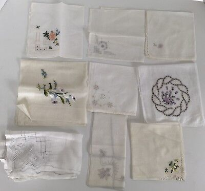 Vintage handkerchiefs - Floral Hand Embroidery Pastel White feminine - Lot Of 9