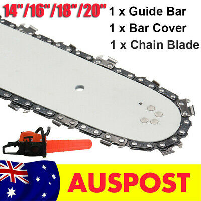 "18'' 20"" Chainsaw Guide Bar and Saw Chain Blade & Bar Cover Replacement AU Stock"