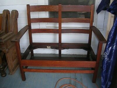 wonderful antique mission quarterawn oak settee c.1915 sig life time grand rapid