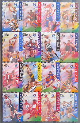 Australian Stamps: 1996 Centenary of AFL - Set of 16 P & S - Used