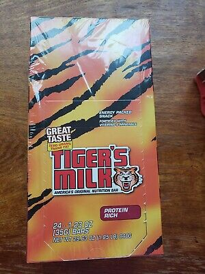 Tiger's Milk Nutrition Bars PROTEIN RICH Flavor 24 -1.23 oz Energy Packed Snack