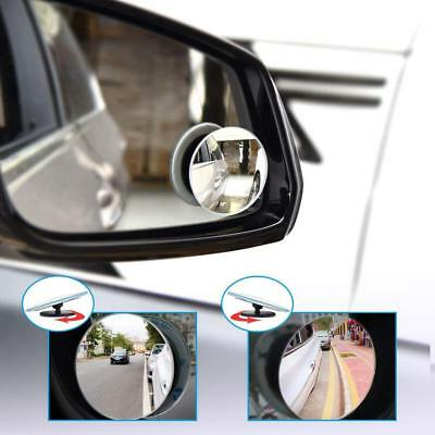 2X Car Round Wide Angle Convex Blind Spot Mirror Reversing Driving Self Adhesive