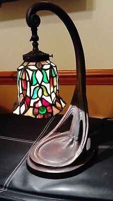 Tiffany Art Deco Style Table/Desk Lamp , V. Heavy. Collect IP19. Greens