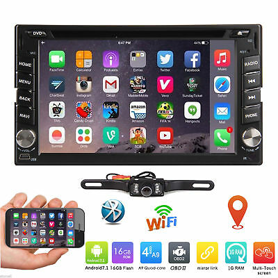 "6.2"" SmartAndroid7.1 4G WiFiDouble 2DIN Car Radio Stereo DVD Player GPS+Camera"