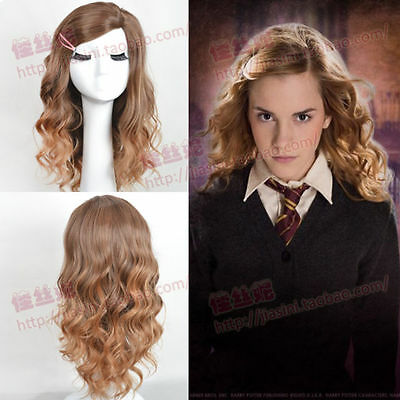 Women Halloween Brown Wavy Curly Cosplay Harry Potter Hermione Granger Full Wig