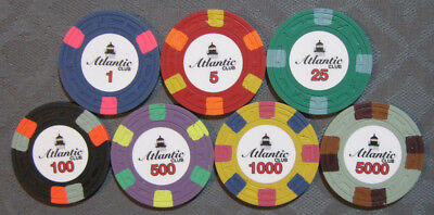 CPC Classic Poker Chips. (7) chips Atlantic Club sample set. clay A-Crest mold.