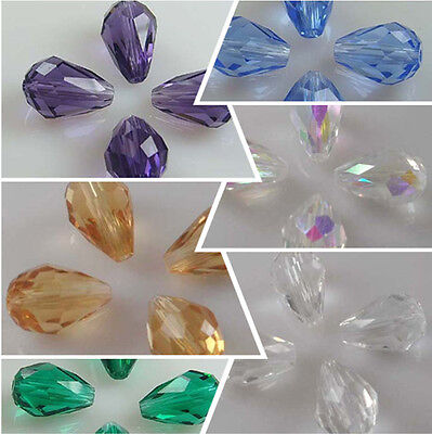 15-150 PCS 12x8mm Teardrop Shape Tear Drop Glass Faceted Loose Crystal Beads