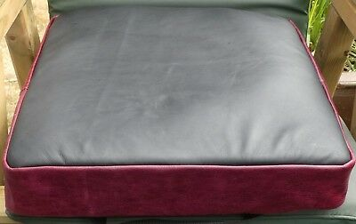 Leather Wheelchair Cushion Cover Black & Red 18L x 16W x 3D