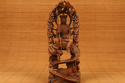 Antique chinese old Boxwood Hand Carved Buddha Tang Seng Statue Figure