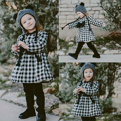 Toddler Kids Baby Girls Autumn Winter Plaid Dress Princess Party Dresses 1-6Y