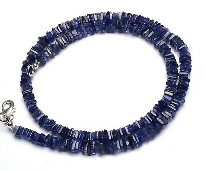 """Natural Gem Iolite Smooth 4.5MM Square Heishi Beads Necklace 16"""" Water Sapphire"""