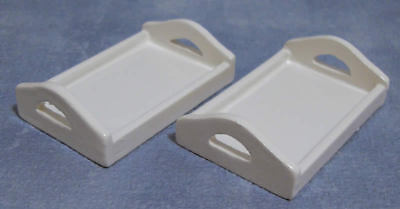 Dolls House Miniature 1/12th Scale Pack of 2 Serving Trays Light Wood or White