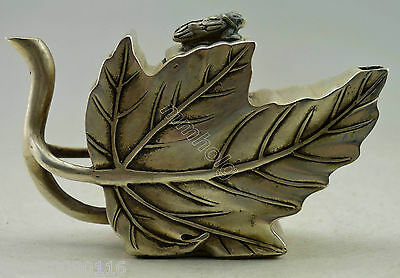 Collectible Decorated Old Handwork Miao Silver Carved Cicada On Leaf Tea Pot