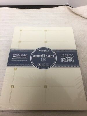 Geographics Capital Business Cards, 2 x 3.5 Inches, Ivory Gold Foil, 150-Cards